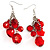 Red Plastic Faceted Bead Dangle Earrings