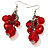 Red Plastic Faceted Bead Dangle Earrings - view 4