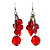 Red Plastic Faceted Bead Dangle Earrings - view 5