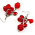 Red Plastic Faceted Bead Dangle Earrings - view 7