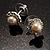 Snow-White Crystal Faux Pearl Stud Earrings - view 5