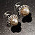 Snow-White Crystal Faux Pearl Stud Earrings - view 6