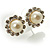 Snow-White Crystal Faux Pearl Stud Earrings - view 7
