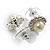 Snow-White Crystal Faux Pearl Stud Earrings - view 3