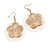 Round Shell Floral Earrings (White)