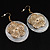 Round Shell Floral Earrings (White) - view 4