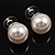 Set of 3 Snow White Faux Pearl Stud Earrings (15mm,12mm, 10mm) - view 6