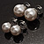 Set of 3 Snow White Faux Pearl Stud Earrings (15mm,12mm, 10mm) - view 5