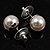 Set of 3 Snow White Faux Pearl Stud Earrings (15mm,12mm, 10mm) - view 4
