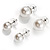 Set of 3 Snow White Faux Pearl Stud Earrings (15mm,12mm, 10mm) - view 8