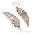 Silver Tone Clear Crystal Wing Earrings - 65mm L - view 7
