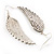 Silver Tone Clear Crystal Wing Earrings - 65mm L - view 5