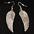 Silver Tone Clear Crystal Wing Earrings - 65mm L - view 2