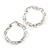Rhodium Plated Twisted Hoop Earrings (35mm diameter)