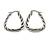 Rhodium Plated Twisted Triangular Hoop Earrings - view 2