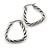 Rhodium Plated Twisted Triangular Hoop Earrings