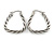 Rhodium Plated Twisted Triangular Hoop Earrings - view 7