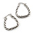 Rhodium Plated Twisted Triangular Hoop Earrings - view 6