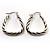 Rhodium Plated Twisted Triangular Hoop Earrings - view 9