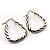 Rhodium Plated Twisted Triangular Hoop Earrings - view 10