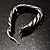 Rhodium Plated Twisted Triangular Hoop Earrings - view 4