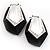 Black Plastic Crystal Hoop Earrings - view 7