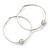 Rhodium Plated Crystal Ball Hoop Earrings (55mm Diameter)