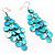 Long Turquoise Shell Disk Dangle Earrings - view 2