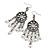 Marcasite Ornate Faux Pearl Chandelier Earrings (Antique Silver Tone) - 9cm Length