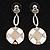 Round Checked Enamel Drop Earrings (White&Beige)