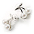 Snow White Imitation Pearl Cherry Stud Earrings (Silver Tone) - view 4