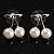 Snow White Imitation Pearl Cherry Stud Earrings (Silver Tone) - view 5