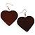 Brown Wood Drop Heart Earrings