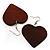 Brown Wood Drop Heart Earrings - view 2