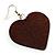 Brown Wood Drop Heart Earrings - view 3