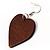 Brown Wood Drop Heart Earrings - view 4