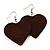Brown Wood Drop Heart Earrings - view 5