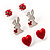 Silver-Tone Heart, Lady Bug & Bunny Stud Earring Set - view 6