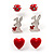 Silver-Tone Heart, Lady Bug & Bunny Stud Earring Set - view 2