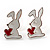 Silver-Tone Heart, Lady Bug & Bunny Stud Earring Set - view 5