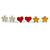 Silver-Tone Heart, Daisy & Star Stud Earring Set
