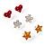 Silver-Tone Heart, Daisy & Star Stud Earring Set - view 4