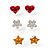 Silver-Tone Heart, Daisy & Star Stud Earring Set - view 8