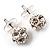 Silver Tone Crystal Ball Stud Earrings