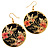 Japanese Style Floral Disk Earrings (Gold&Black)
