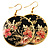 Japanese Style Floral Disk Earrings (Gold&Black) - view 2