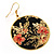 Japanese Style Floral Disk Earrings (Gold&Black) - view 3