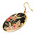 Japanese Style Floral Disk Earrings (Gold&Black) - view 4