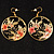 Japanese Style Floral Disk Earrings (Gold&Black) - view 5