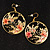 Japanese Style Floral Disk Earrings (Gold&Black) - view 6